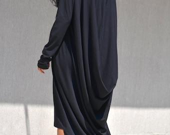Black dress, plus size dress, asymmetric dress, asymmetric caftan, black loose caftan, maxi black dress, loose black dress, black plus size