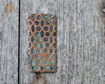 Honeycombs - Etched copper pendant with green patina