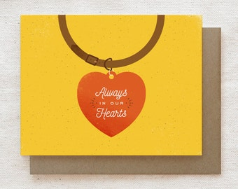 Pet Sympathy Card - Always in our Hearts (Yellow)