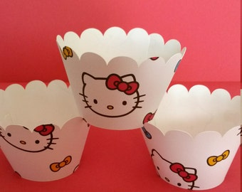 Hello Kitty inspired cupcake wrappers