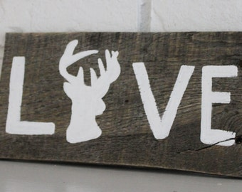 Valentine's Day Gift Handmade Rustic Buck Hunting Love Reclaimed Wood Sign