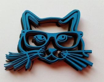 Hipster Kitty Cat with Glasses Scrap Booking Die Cut Outs!