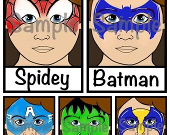 Face Paint Menu Batman, Spidey, Hulk, Wolverine, Cpt America face painting designs