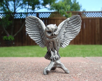 Pewter Owl with Wings Outstretched Perched on Branch Collectible Figure Figurine a2482