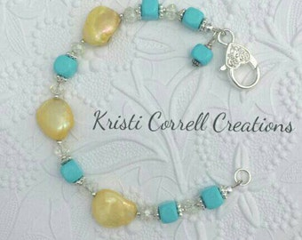 Yellow shell and turquoise bracelet, turquoise bracelet, Yellow shell and turquoise bracelet, Turquoise and yellow shell bracelet, shells