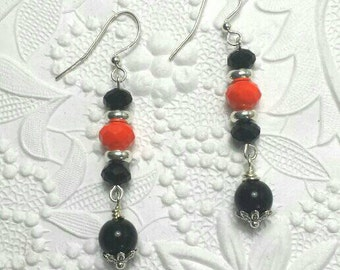 Fun black onyx and orange crystal earrings, Black and orange earrings, Orange and black earrings, Black orange earrings, Halloween earrings.