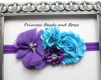 Shades of Purple and Turquoise Floral Headband, Shabby Chic Flower Headband,  Baby Headband, Girls Headband, Newborn Headband  READY TO SHIP