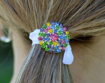 Rhinestone Hair Ties, Bling Hair Ties, FOE Hair Ties, Rhinestone Hair Accessory, Bling Ponytail Holders, Bright Hair Ties, Rhinestones, Hair