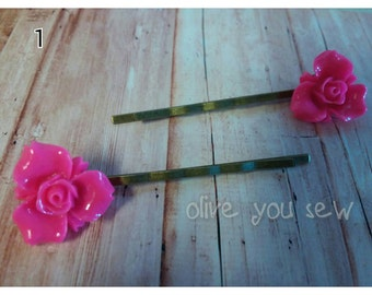 Hot Pink Resin Flower Bobby PIns