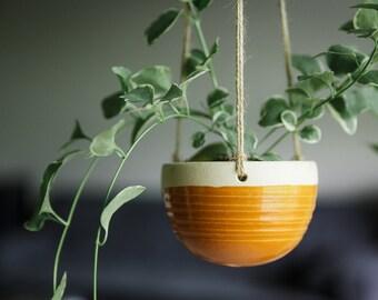Ceramic Hanging Planter - hanging planter - pottery planter - pottery hanging planter - handmade - wheel thrown - goldenrod yellow - orange