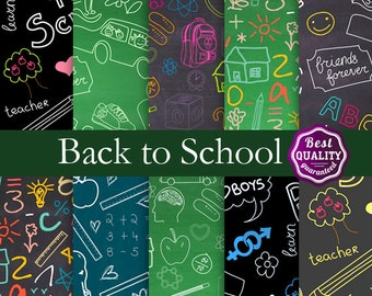 Back to School BIG SALE Chalkboard digital papers * Chalkboard ,Math, Drawings & more * 12x12 - Instant Download Education and Fun Paper