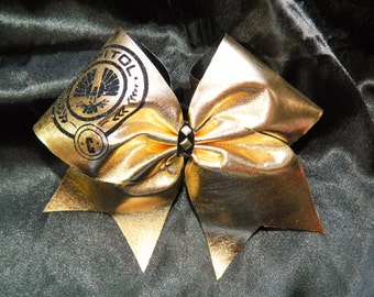Hunger Games Inspired Capitol Gold Cheer Bow Hair Bow