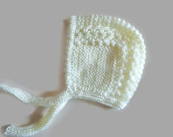 Knit baby bonnet, knit baby girl hat, baby girl bonnet, hospital baby hat, newborn girl hat, knit newborn hat, cream baby bonnet