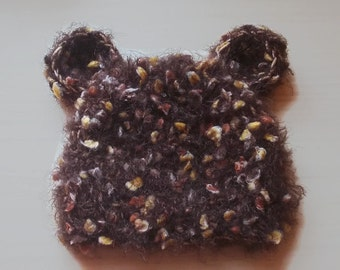 Baby bear hat, fuzzy bear hat, crochet newborn hat, teddy bear baby hat, newborn bear hat, newborn fuzzy hat, baby newborn hat