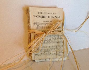Vintage Hymnal Pages Music Craft Scrapbooking Paper Collage Lot of 25 Miscellaneous