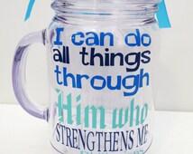 Custom Bible Verse Tumbler Gift, Biblical Quote, Mason Jar Mug, Spiritual Gift, Inspirational Gift, Customized Tumbler