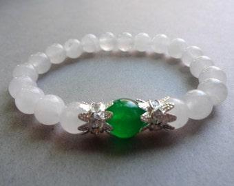 Green white Jade rhinestone stretch Bracelet - Jade jewelry - gemstone bracelet