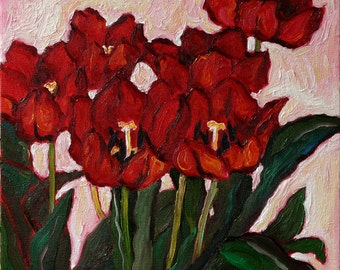 "TULIPS II - Original Oil Painting - 12""x12"", Original Artwork, Home Decor, Living Room Wall Decor, Floral, Wall Hanging Art"