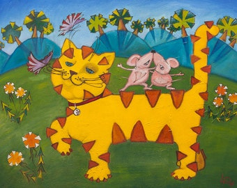 SALE Oil Painting Tigercat ORIGINAL Artwork Nursery Room Decor Kids Room Wall Decor Painting for Kids Animalistic