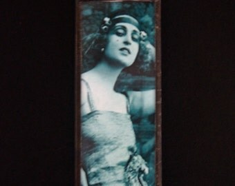 1920's Flapper - Microscope Slide Necklace - Double Sided - Collage