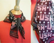 Vintage Scarf Small Square USA Patriootic Print  Navy Blue Red White Chiffon Retro Style Fashion Accessories Neck Wrap Summer
