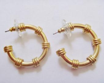 Vintage 1990's Semi-Hoop Earrings, Gold Plated Studs