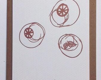OH L'ÉTÉ IV / letterpress postcard handmade in Bordeaux