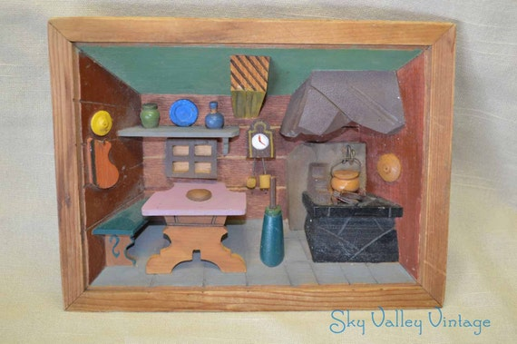 Kitchen Diorama Made Of Cereal Box: Vintage Miniature Kitchen Diorama Wood Box By SkyValleyVintage