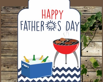 BBQ Fathers Day gift Tag, Instant Download, Father's Day Label, Happy Fathers Day, BBQ Label Tag, Fathers Day Gift