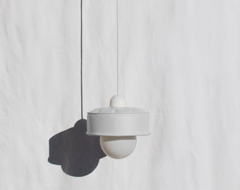 Hanging / pendant / ceiling lamp mat white ... eco friendly & handmade : recycled from  coffee can !