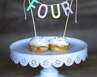 Number bunting cake topper