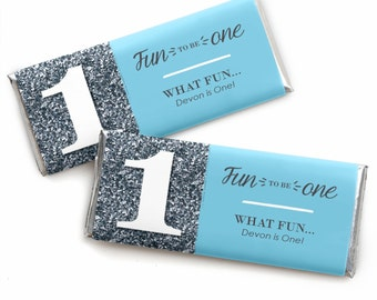 24 Fun to be One - 1st Birthday Boy Custom Candy Bar Wrappers - Personalized Birthday Party Favors