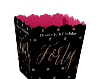 Chic 40th Birthday - Pink, Black, and Gold - Custom Small Candy Boxes - Personalized Birthday Party Supplies - Set of 12