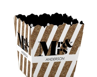 Mr. and Mrs. - Gold Custom Small Candy Boxes - Personalized Wedding Party Supplies - Set of 12