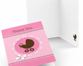 Set of 8 Girl Baby Carriage Baby Shower Thank You Cards - Baby Shower Party Supplies