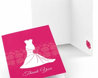 Set of 8 Thank You Cards - Wedding Dress Pink - Note Cards