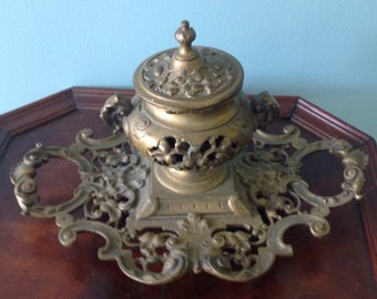 Late 1800's antique bronze ink well by B.Altman & Co.