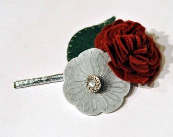 Felt buttonhole / Everlasting buttonhole / Corsage / Embroidered buttonhole / Rose Corsage / Alternative wedding flowers