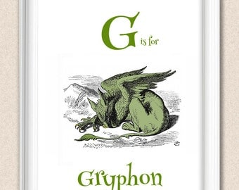 Alphabet Print Alice in Wonderland G is for Gryphon A095