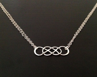 Intertwined Infinity Link Necklace, Sideways Infinity, Sterling silveNecklace
