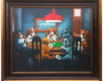 """Dogs Playing Cards Oil Painting Reproduction """"A Friend in Need"""" 1903 By C.M.Coolidge (20"""" x 24"""") Framed"""