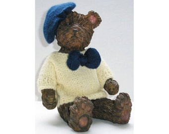 Vintage Brown Bear in Knitted White Sweater with Dark Blue Bow and Beret Stoneware