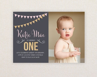 Photo Girls Birthday Party Invitations. Gold Glitter and buntings. I Customize, You Print.