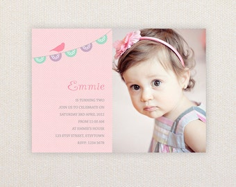 Photo Birthday Party Invitations. Sweet bunting design. I Customize, You Print.
