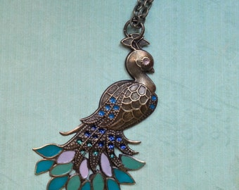 Colorful vintage Peacock necklace