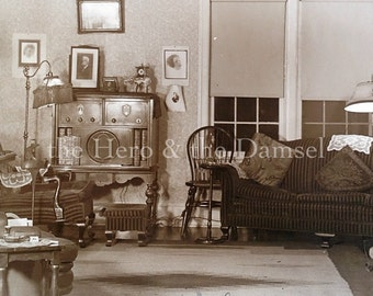 "1935 // Large 8""x10"" Great Depression era photograph, creative vernacular photography, 30's living room interior photo with 1930's radio"