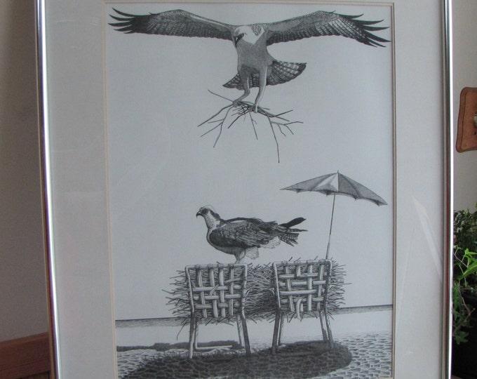 Vintage Beach Art Ink Drawing, Honey I'm Home! Black and White Sea Gulls Building a Nest Ocean Beach House Home Decor Decor Birds Nests