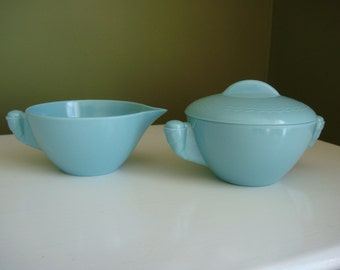 SALE-Vintage Melmac Cream and Sugar Set - Aqua/Turquoise - Unmarked - Epsteam