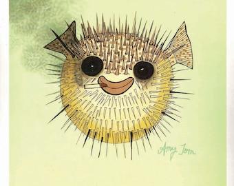 "Smiling Pufferfish Art Print of Original Drawing ""Puff,"" Puffer Fish Print, Puffer Fish Illustration, Blow Fish Art by Amy Tom"