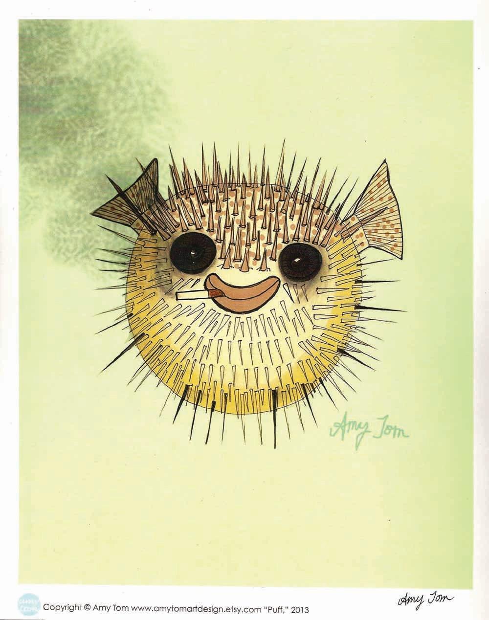 Smiling pufferfish art print of original drawing for Puffer fish art